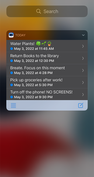 The today widget gives you a little preview of your day